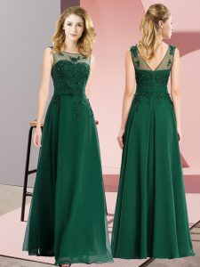 Deluxe Dark Green Chiffon Zipper Wedding Guest Dresses Sleeveless Floor Length Beading and Appliques
