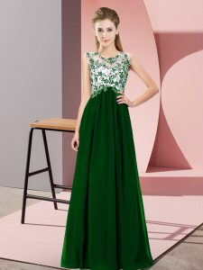 Dark Green Empire Scoop Sleeveless Chiffon Floor Length Zipper Beading and Appliques Wedding Party Dress
