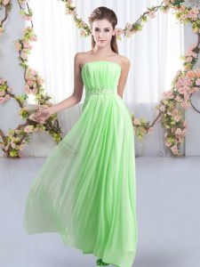 Fashion Strapless Sleeveless Wedding Guest Dresses Sweep Train Beading Chiffon