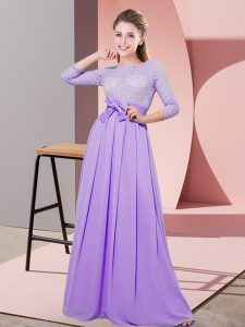 Lavender Side Zipper Scoop Lace and Belt Wedding Party Dress Chiffon 3 4 Length Sleeve