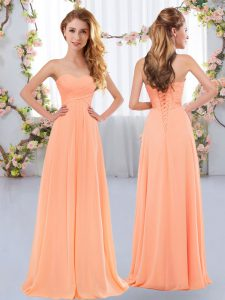 Peach Sweetheart Lace Up Ruching Bridesmaid Dresses Sleeveless