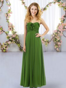 Floor Length Olive Green Wedding Party Dress Sweetheart Sleeveless Lace Up