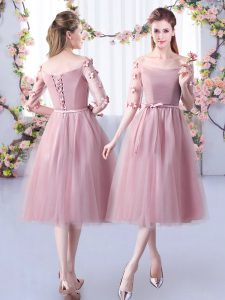 Affordable Appliques and Belt Wedding Guest Dresses Pink Lace Up Half Sleeves Tea Length