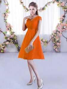 Nice Orange Red A-line Lace V-neck Cap Sleeves Lace Mini Length Lace Up Bridesmaid Dress