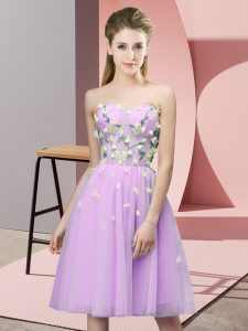 Low Price Lilac Lace Up Bridesmaid Gown Appliques Sleeveless Knee Length