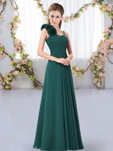 Peacock Green Lace Up Straps Hand Made Flower Bridesmaid Gown Chiffon Sleeveless
