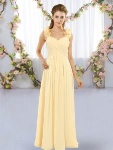 Straps Sleeveless Bridesmaids Dress Floor Length Hand Made Flower Yellow Chiffon
