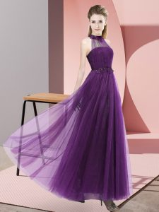 Flirting Tulle Sleeveless Floor Length Bridesmaids Dress and Beading and Appliques