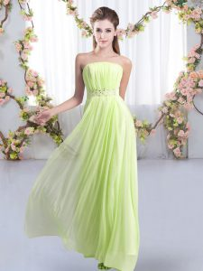Customized Strapless Sleeveless Chiffon Bridesmaid Gown Beading Sweep Train Lace Up