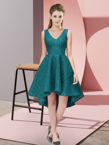 Flirting A-line Bridesmaid Dresses Teal V-neck Lace Sleeveless High Low Zipper