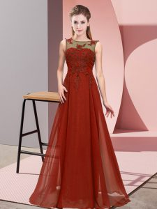 Beading and Appliques Bridesmaids Dress Rust Red Zipper Sleeveless Floor Length