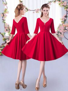 Beautiful A-line Wedding Guest Dresses Red V-neck Satin Half Sleeves Knee Length Zipper
