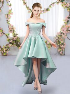 New Style High Low Apple Green Bridesmaid Dresses Satin Sleeveless Appliques