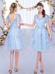 Superior Tulle V-neck Short Sleeves Lace Up Appliques Bridesmaid Dress in Light Blue