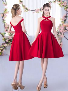 On Sale Knee Length Red Bridesmaid Dresses Straps Sleeveless Zipper
