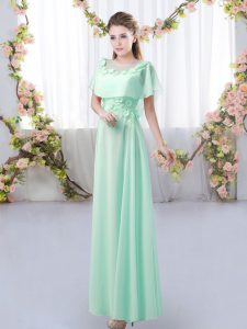 Top Selling Short Sleeves Chiffon Floor Length Zipper Bridesmaids Dress in Apple Green with Appliques