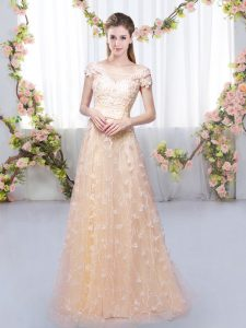 Sophisticated Tulle Off The Shoulder Cap Sleeves Lace Up Appliques Bridesmaid Dresses in Peach