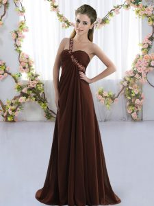 Lace Up Bridesmaids Dress Brown for Prom and Party with Beading Brush Train