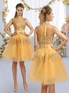 High Class Gold Cap Sleeves Knee Length Lace and Bowknot Zipper Bridesmaid Gown