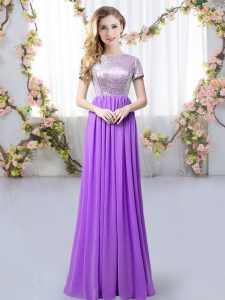 Purple Empire Sequins Bridesmaids Dress Zipper Chiffon Short Sleeves Floor Length