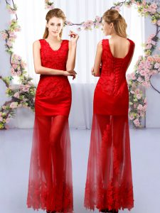 Beautiful Red Lace Up Wedding Guest Dresses Lace Sleeveless Floor Length