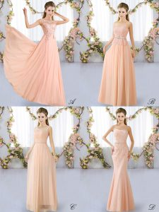Lace Bridesmaid Dresses Peach Lace Up Sleeveless Floor Length