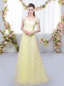 Romantic Tulle Off The Shoulder Cap Sleeves Lace Up Appliques Bridesmaids Dress in Light Yellow