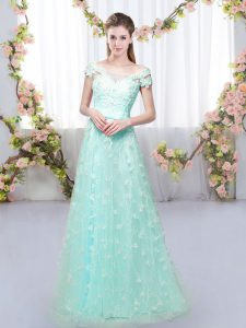 Stunning Floor Length Apple Green Wedding Party Dress Tulle Cap Sleeves Appliques
