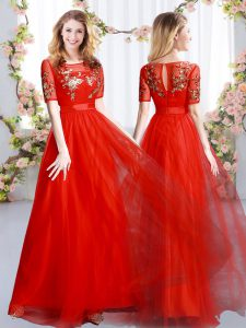 New Arrival Floor Length Zipper Bridesmaid Gown Red for Prom and Party and Wedding Party with Appliques
