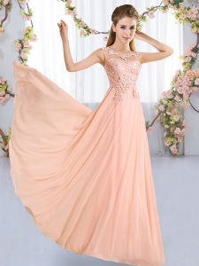 Attractive Peach Lace Up Scoop Lace Wedding Guest Dresses Chiffon Sleeveless
