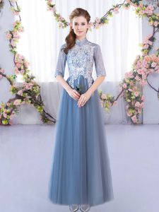 Pretty Blue Tulle Lace Up High-neck Half Sleeves Floor Length Bridesmaid Gown Lace
