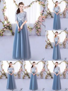 Blue Lace Up Wedding Party Dress Lace Half Sleeves Floor Length