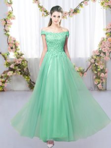 Enchanting Apple Green Lace Up Bridesmaid Dresses Lace Sleeveless Floor Length