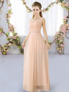 Beauteous Peach Sleeveless Chiffon Lace Up Bridesmaid Dress for Prom and Party and Wedding Party