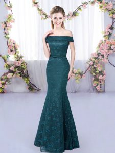 Off The Shoulder Sleeveless Bridesmaid Dress Floor Length Lace Peacock Green