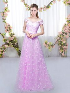 Excellent Floor Length Lilac Wedding Party Dress Tulle Cap Sleeves Appliques