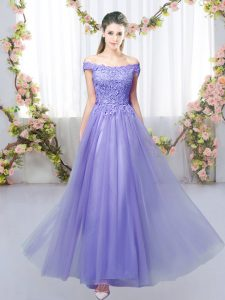 Lavender Lace Up Off The Shoulder Lace Bridesmaid Dresses Tulle Sleeveless