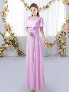 Lilac Empire Appliques Bridesmaid Gown Zipper Chiffon Short Sleeves Floor Length