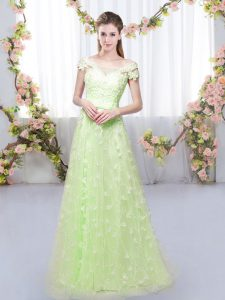 Fantastic Tulle Off The Shoulder Cap Sleeves Lace Up Appliques Bridesmaids Dress in Yellow Green