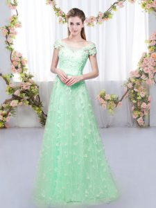 Pretty Cap Sleeves Floor Length Appliques Lace Up Bridesmaid Dresses with Apple Green