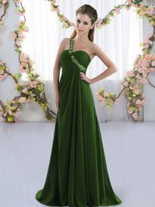 Eye-catching Olive Green One Shoulder Lace Up Beading Bridesmaid Gown Brush Train Sleeveless