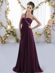 Dark Purple Sleeveless Beading Lace Up Bridesmaid Gown