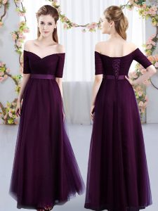 Fine Tulle Off The Shoulder Short Sleeves Lace Up Ruching Bridesmaid Dresses in Dark Purple