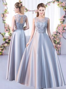 Admirable Floor Length Empire Sleeveless Silver Bridesmaid Dress Lace Up