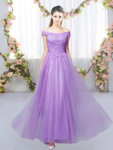 Sleeveless Floor Length Lace Lace Up Wedding Guest Dresses with Lavender
