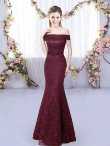 Great Burgundy Sleeveless Lace Floor Length Wedding Guest Dresses