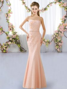 Sweetheart Sleeveless Bridesmaid Dresses Floor Length Beading Peach Lace