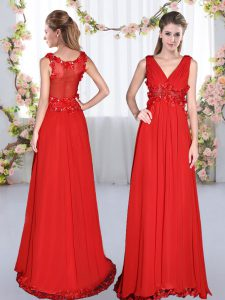 Red Side Zipper V-neck Beading and Appliques Bridesmaid Dresses Chiffon Sleeveless