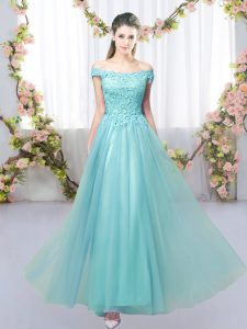 Floor Length Aqua Blue Bridesmaid Gown Off The Shoulder Sleeveless Lace Up
