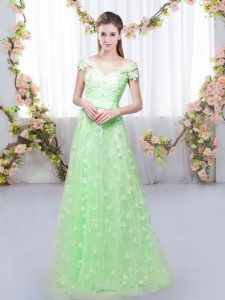 Graceful Tulle Lace Up Off The Shoulder Cap Sleeves Floor Length Bridesmaids Dress Appliques